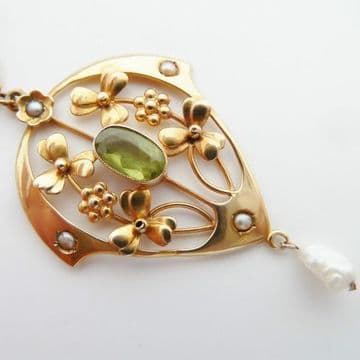 SOLD ANTIQUE ART NOUVEAU PENDANT NECKLACE 9CT GOLD & PERIDOT & 9CT CHAIN C.1900