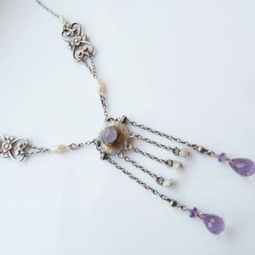 SOLD Antique Arts & Crafts Glasgow Style Necklace Amethyst Pearl Silver C.1900