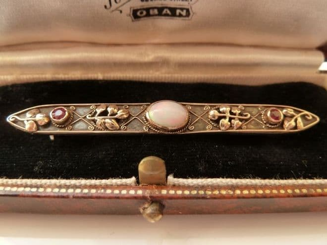 SOLD ANTIQUE ARTS & CRAFTS MIXED METAL GOLD / SILVER BROOCH SET WITH OPAL & RUBIES