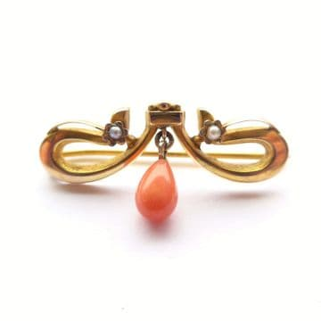 SOLD Antique Belle Epoque 9ct Gold Pearl & Coral Drop Brooch Chester 1907 Rolason Br