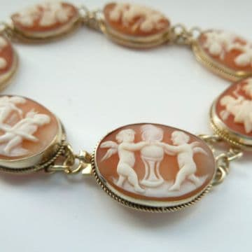 SOLD Antique Cameo Bracelet Depicting Scenes Of Putti / Cherubs In Gold Vermiel Includes Box