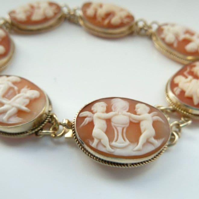 SOLD Antique Cameo Bracelet Depicting Scenes Of Putti / Cherubs In Gold Vermiel Includes Box