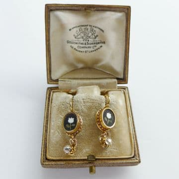 SOLD Antique Diamond Earrings White Tulips Love 18K Gold C.1870 Boxed