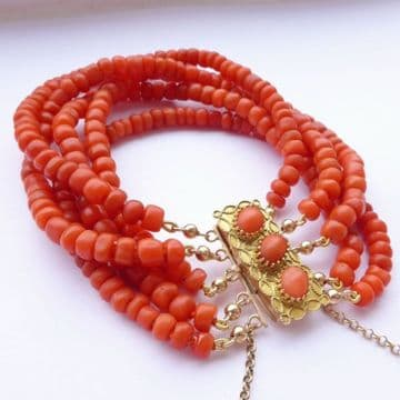SOLD ANTIQUE DUTCH BLOOD CORAL BEAD & 14ct GOLD BRACELET NETHERLANDS C1870 HALLMARKED