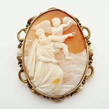 SOLD Antique Early Large Victorian Shell Cameo 9CT Gold Frame C.1860 Jesus & Angel