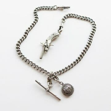 SOLD Antique Solid Silver Watch Albert Chain & Miniature Gun Chinese Fob 1907