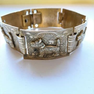 SOLD ART DECO Bracelet Scotty Dog Terrier from the 1930's