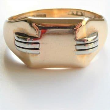 SOLD ART DECO MENS Signet Ring 9ct Gold 1930's Reg Design London Hallmk HEAVY BAUHAUS