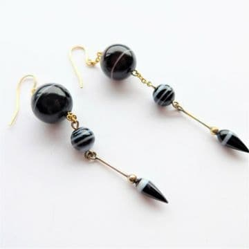 """SOLD Exceptional Victorian Banded Agate Earrings Over 3"""" Long"""