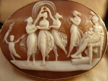 "SOLD Huge Over 2 1/2"" Antique Victorian Cameo Brooch Signed In 9CT Solid Gold Frame"