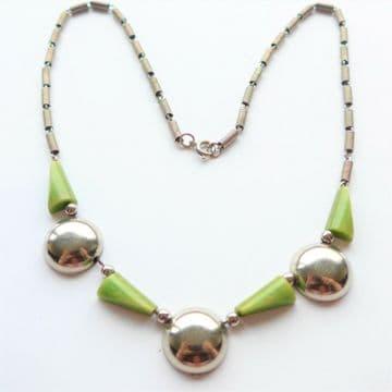 SOLD JAKOB BENGEL Necklace Art Deco Chrome Green Galalith GEOMETRIC Necklace SCHMUCK