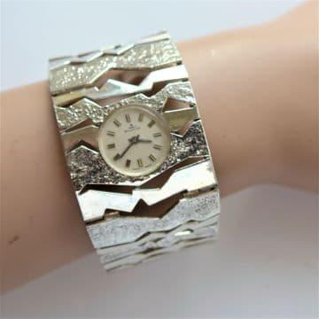 SOLD Mid-Century Wrist Watch SOLID SILVER Cuff Bangle 68g 2.3 Oz SWISS WORKING WINDUP