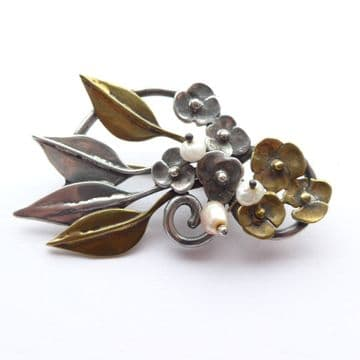 SOLD  Vintage Arts and Crafts Mixed Metal Floral Brooch