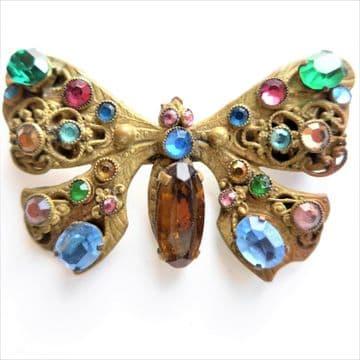 "SOLD  Vintage Czech Butterfly Brooch - Over 2"" - Art Deco 1930's Original"