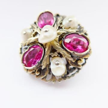 Stunning Vintage Austro Hungarian Silver Gilt Brooch Set With Rubies & Pearls