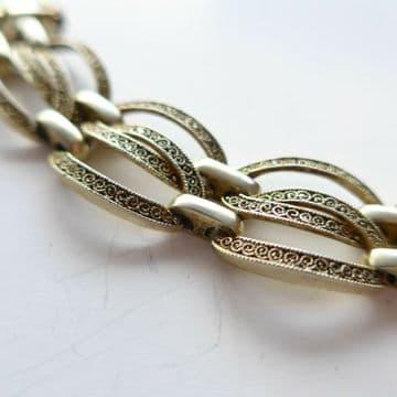THEODORE FAHRNER Art Deco Silver Gilt Bracelet - Late 20's Mark GUSTAV BRAENDLE