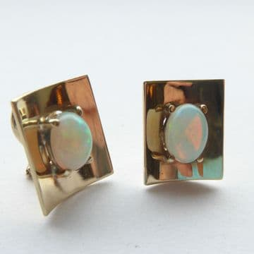 Unusual Mid Century Opal and 9ct Gold Clip on Earrings