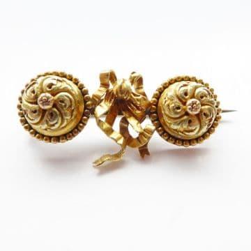 Unusual Regency Period Heavy 18ct Yellow Gold Ribbon Brooch