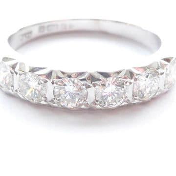 Vintage 80's White Gold Half Eternity Ring 18ct 0.66 Carat Diamonds High Quality