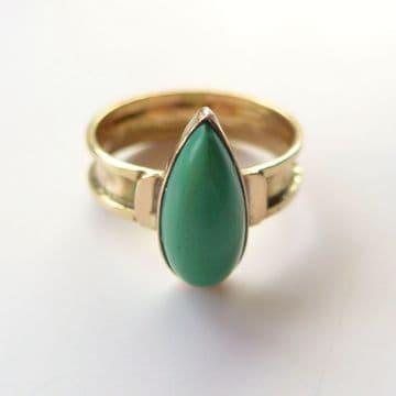 Vintage Arts & Crafts Retro Unique 9ct Gold Green Turquoise Ring Birmingham1941