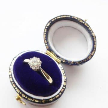 Vintage Diamond Engagement Ring HALF 1/2 Carat 0.50 18ct Yellow Gold & Platinum