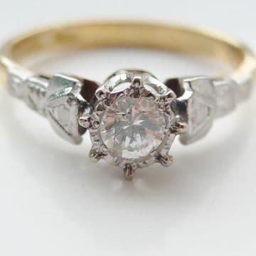 Vintage Diamond Solitaire Engagement Ring 18ct Yellow Gold & Plat .25 Carat