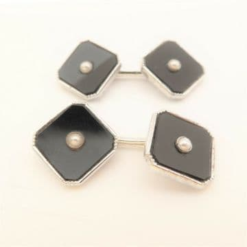 White Gold Cufflinks Art Deco 9ct Onyx and Pearl - Dress Suit Groom Cufflinks