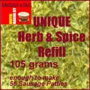105gms of our Unique blend of Herbs & Spices to make a McDonald's Style Sausage