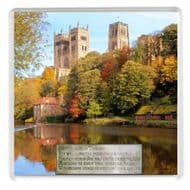 "A Drinks Coaster with a Classic Autumn view of Durham Cathedral with Walter Scott's poem ""Grey Towers of Durham"""