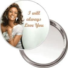 Compact, Makeup Button Mirror with Whitney Houston image