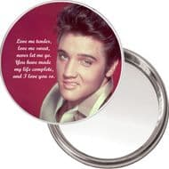 "Elvis Presley ""Love me tender..."" unique Compact Makeup Button Mirror. 75mm diameter. Delivered in a Black Organza Bag."