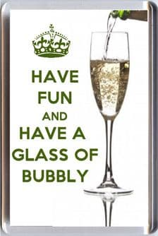 HAVE FUN AND HAVE A GLASS OF BUBBLY Fridge Magnet 7 x 4.5cms Unique Christmas Gift Idea