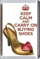 KEEP CALM and CARRY ON BUYING SHOES Fridge Magnet with a VIVIENNE WESTWOOD Shoes image