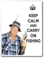 KEEP CALM AND CARRY ON FISHING Drinks Coaster, Wall Plaque or Fridge Magnet