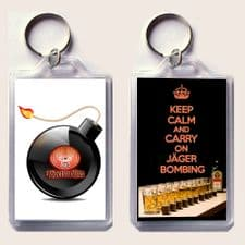 KEEP CALM and CARRY ON JGERBOMBING Keyring with image of Jgermeister bottle, glasses of Red Bull