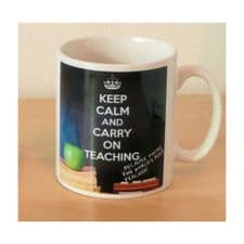KEEP CALM and CARRY ON TEACHING ... because you're the World's Best Teacher! Novelty Ceramic Mug.