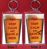 KEEP CALM and HAVE A BEER & ANOTHER BEER Keyring Christmas / Birthday Gift Idea