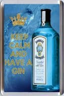 KEEP CALM and HAVE A GIN with Bombay Sapphire image Fridge Magnet Unique Gift