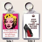 Keyring with MARILYN MONROE quote & KEEP CALM and CARRY ON BUYING SHOES on a Louboutin Shoes image