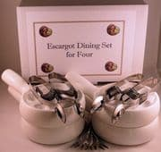 NOW IN STOCK Snail, Escargot Dining set for FOUR 4 Vitrified Ceramic 6 hole dishes, 4 snail tongs, 4 snail forks.