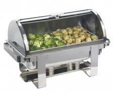 Roll Top Stainless Steel Rectangular Chafing Set from only 65 +VAT  FREE UK Delivery