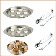 Snail, Escargot Dining set for TWO  2  Stainless Steel 6 hole dishes, 2 snail tongs, 2 snail forks.