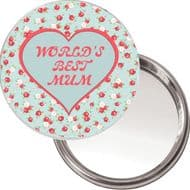 """Unique Button Mirror """"WORLD'S BEST MUM"""" Ideal Christmas or Mothers' Day Gift Idea. Delivered in a black organza bag."""