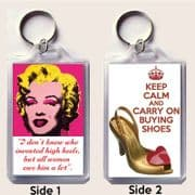 Unique Keyring MARILYN MONROE quote & KEEP CALM and CARRY ON BUYING SHOES Westwood Shoes image.