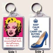 Unique Keyring with a MARILYN MONROE Quote & KEEP CALM and CARRY ON BUYING SHOES Blahnik Shoes Image
