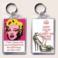 Unique Keyring with MARILYN MONROE & KEEP CALM and CARRY ON BUYING SHOES on a Jimmy Choo Shoes image