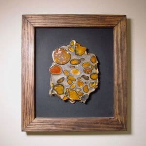 HERTFORDSHIRE PUDDINGSTONE - cut and polished and framed for wall display