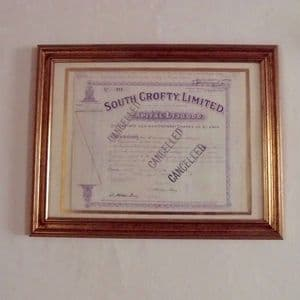 SOUTH CROFTY TIN MINE SHARE CERTIFICATE (ORIGINAL CERTIFICATE DATED 1934) - Framed for wall hanging