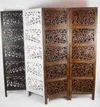 4 Panel Hand Carved Indian Screen Wooden Elephant Screen Room Divider