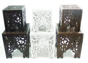 Beautiful Brown White Square Hand Carved Indian Wooden Side End Coffee Table(STB4VA)